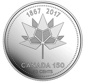 CANADA 2017 NEW 50 CENTS 150TH ANNIVERSARY OF CANADA 1867 2017  BU FROM ROLL