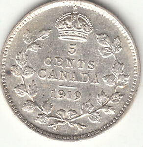 .925 SILVER 1919 GEORGE V 5 CENT PIECE EF 40