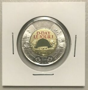 CANADA 2019 NEW $2 TOONIE 75TH ANNIVERSARY OF D DAY COLOR  UNC FROM MINT ROLL