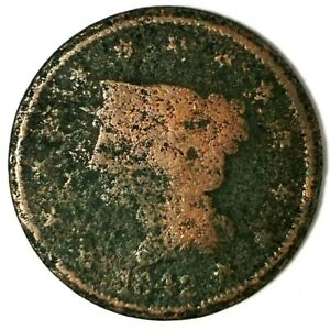 1842 P 1C BRAIDED HAIR LARGE CENT 19UUL0512  ONLY 50 CENTS FOR SHIPPING