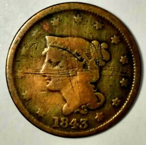 1843 P 1C BRAIDED HAIR LARGE CENT 19UOC0510  ONLY 50 CENTS FOR SHIPPING