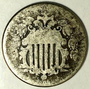 1866 P 5C SHIELD NICKEL 19LWC0505 W/RAYS ONLY 50 CENTS FOR SHIPPING
