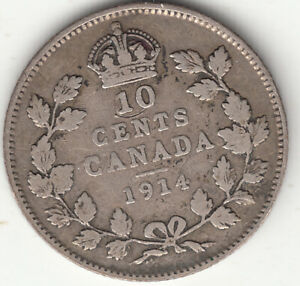 .925 SILVER 1914 GEORGE V 10 CENT PIECE F 12