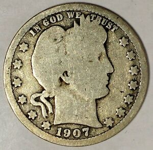 1907 D 25C BARBER QUARTER 17CCR1211 90  SILVER ONLY 50 CENTS FOR SHIPPING