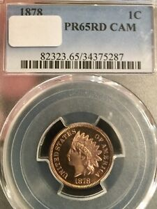 1878 INDIAN CENT PROOF 65 RED CAMEO PCGS PRETTY COIN