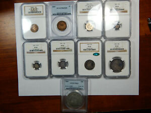 Click now to see the BUY IT NOW Price! 1865 1C $1  9  PIECE GRADED PROOF SET  GREAT COLLECTION  PR 63 TO 67