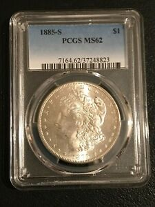 1885 S MORGAN SILVER DOLLAR  PCGS MS 62  GREAT LUSTER
