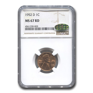 Click now to see the BUY IT NOW Price! 1952 D LINCOLN CENT MS 67 NGC CAC  RED    SKU195612