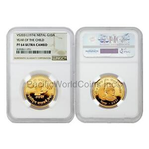 Click now to see the BUY IT NOW Price! NEPAL 1974  VS2031  YEAR OF CHILD 10 ASARPHI GOLD NGC PF64 ULTRA CAMEO