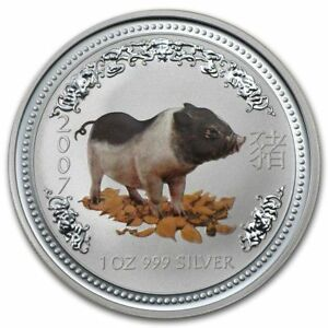 Click now to see the BUY IT NOW Price! 2007 PERTH MINT YEAR OF THE PIG 1 OZ .999 SILVER COIN