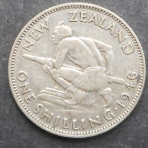 NEW ZEALAND 1946 KGVI ONE SHILLING SILVER COIN