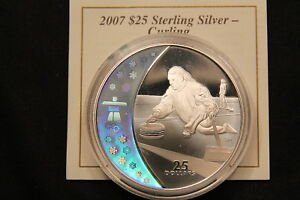 Click now to see the BUY IT NOW Price! 2007 CANADA HOLOGRAM $25 SILVER 28 GRAM COIN   VANCOUVER OLYMPIC CURLING