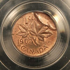 Click now to see the BUY IT NOW Price! 1963 1 CENT CANADA ERROR PARTIAL BROCKAGE. CCCS MS62 RB. HARD HOLDER.