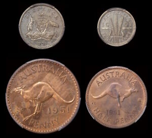 Click now to see the BUY IT NOW Price! 1951 PL LONDON PROOF COIN SET  6D TO 1/2D  PCGS PR63RB PR64