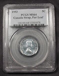 Click now to see the BUY IT NOW Price! 1953 CANADA 5 CENTS MS64 PCGS    MULE   SHOULDER FOLD & FAR LEAF. POP 4/1