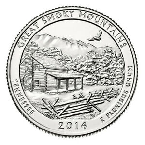 2014 D GREAT SMOKY MOUNTAINS ATB QUARTER   FROM US MINT ROLL