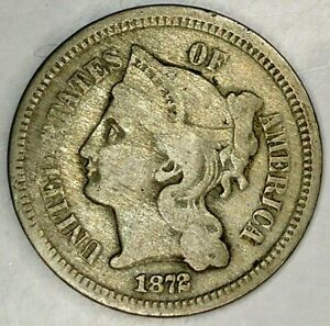 1872 P  3C THREE CENT NICKEL 19ORR0728  ONLY 50 CENTS FOR SHIPPING