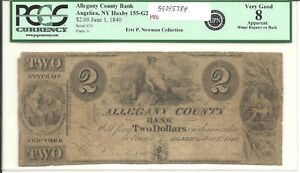 Click now to see the BUY IT NOW Price! ALLEGANY COUNTY BANK ANGELICA NY HAXBY 155 G2 $2 JUNE 1 1840 PCGS VG 8 APPARENT
