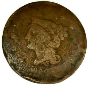 1840 P 1C BRAIDED HAIR LARGE CENT 19UOC0811 ONLY 50 CENTS FOR SHIPPING