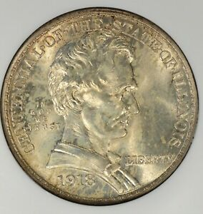 1918 ILLINOIS QUARTER NGC MS64  LINCOLN COMM STRONG LUSTER GOLD HIGHLIGHTS