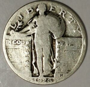 1926 P 25C STANDING LIBERTY QUARTER 18UTU2802 90  SILVER 50 CENTS FOR SHIPPING