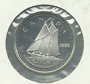 1998 10 CENT PROOF SILVER COIN.