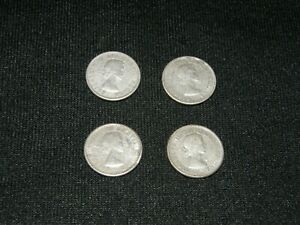 CANADA SILVER DIMES 10 CENTS / LOT OF 4 COINS  3  1963  1  1964