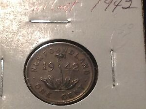 1942 NEWFOUNDLAND ONE CENT SMALL 1C GENUINE VINTAGE COIN