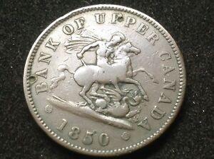 1850 BANK OF UPPER CANADA ONE PENNY COLONIAL TOKEN