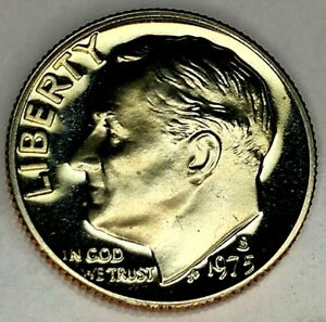 1975 S 10C ROOSEVELT  DIME 19OC0704 2 GDC PROOF CLAD  ONLY 50 CENTS FOR SHIPPING