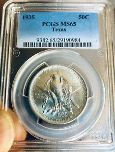 1935 TEXAS COMMEMORATIVE SILVER HALF DOLLAR   PCGS MS 65   MINT STATE 65