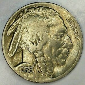 1936 S 5C BUFFALO NICKEL 19RR0811 ONLY 50 CENTS FOR SHIPPING
