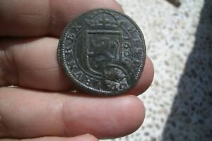 A66  SPAIN COLONIAL LARGE 8 MARAVEDIS 1606 COUNTERMARKED PHILIP IV 1642 SEGOVIA