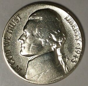 1943 P 5C JEFFERSON WAR NICKEL 18LOR2503 1 35  SILVER 50 CENTS FOR SHIPPING