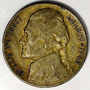 1943 P 5C JEFFERSON WAR NICKEL 17LSR2912 2 35  SILVER 50 CENTS FOR SHIPPING