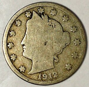 1912 D  5C LIBERTY HEAD NICKEL 18LSR2303 ONLY 50 CENTS FOR SHIPPING