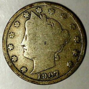 1907 P  5C LIBERTY HEAD NICKEL 19HO0504 ONLY 50 CENTS FOR SHIPPING