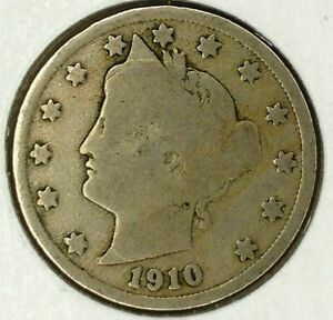 1910 P  5C LIBERTY HEAD NICKEL 19LTA0717 ONLY 50 CENTS FOR SHIPPING