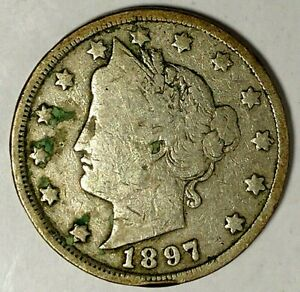 1897 P  5C LIBERTY HEAD NICKEL 19LAT0504 ONLY 50 CENTS FOR SHIPPING