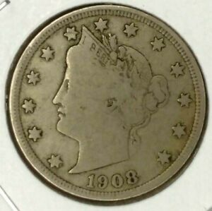1908 P  5C LIBERTY HEAD NICKEL 19LTA0717 ONLY 50 CENTS FOR SHIPPING