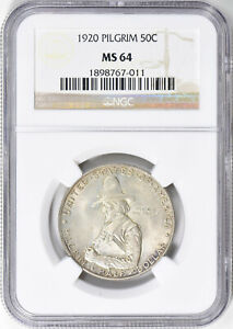 1920 PILGRIM COMMEMORATIVE SILVER HALF DOLLAR   NGC MS 64   MINT STATE 64