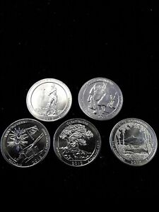 2013 S 25C AMERICA THE BEAUTIFUL QUARTER 5 COIN SET UNCIRCULATED MINT STATE