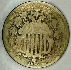 1868 P 5C SHIELD NICKEL 19ORH0818 ONLY 50 CENTS FOR SHIPPING