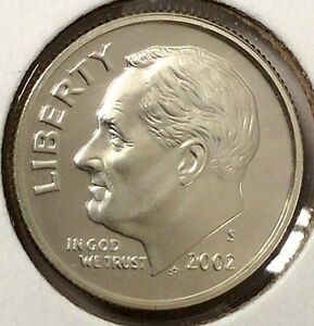 2002 S 10C ROOSEVELT DIME 17LAU2207 A 90  SILVER PROOF 50 CENTS FOR SHIPPING A