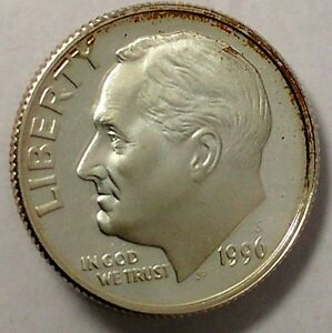 1996 S 10C ROOSEVELT DIME LTT 90  SILVER PROOF ONLY 50 CENTS FOR SHIPPING