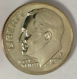 1986 P 10C ROOSEVELT DIME D1716OS BU CLAD ONLY 50 CENTS FOR SHIPPING