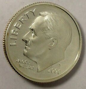 2000 S 10C ROOSEVELT DIME UOC 90  SILVER PROOF ONLY 50 CENTS FOR SHIPPING