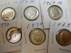 6 DIFFERENT PROOF DIMES. 1968 1969 1970 1971 1972 AND 1973 COMBINE SHIPPING.