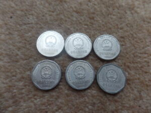 JOB LOT  COLECTABLE 6X  CHINESE  1 YI JIAO COINS 1992   1998   23MM