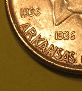 1936 ARKANSAS HALF DOLLAR COMMEMORATIVE  ERROR COIN  OBV. DOUBLING